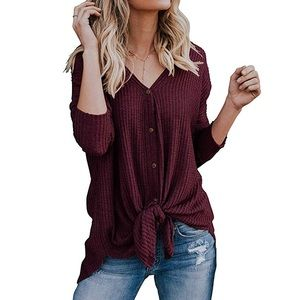🎀 Henley Shirts Long Sleeve Waffle Knit Tunic🎀